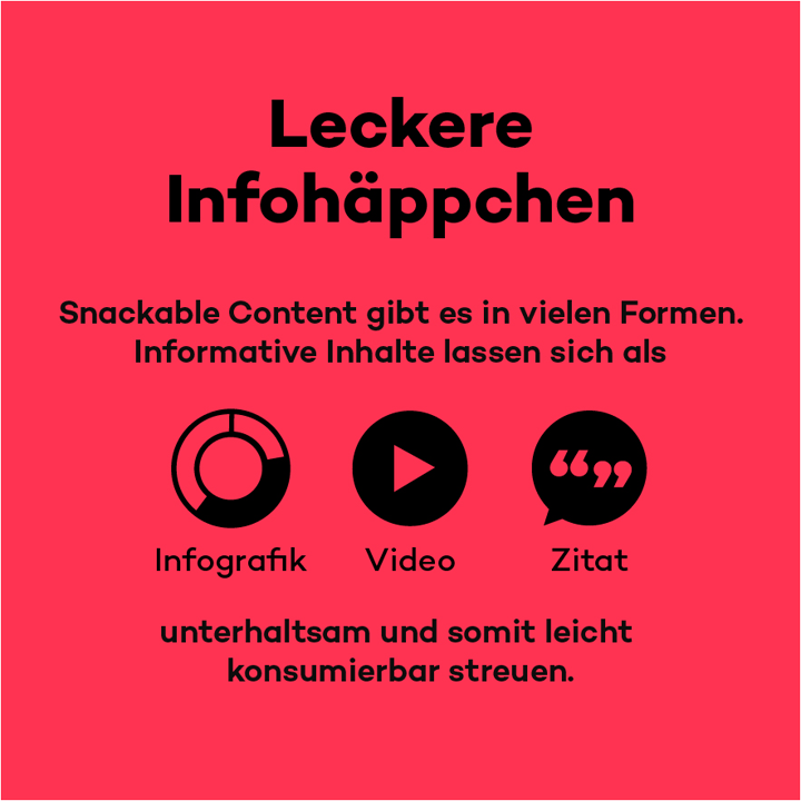 Social Media-Post zeigt Snackable Content-Formate: Infografik, Video und Zitat